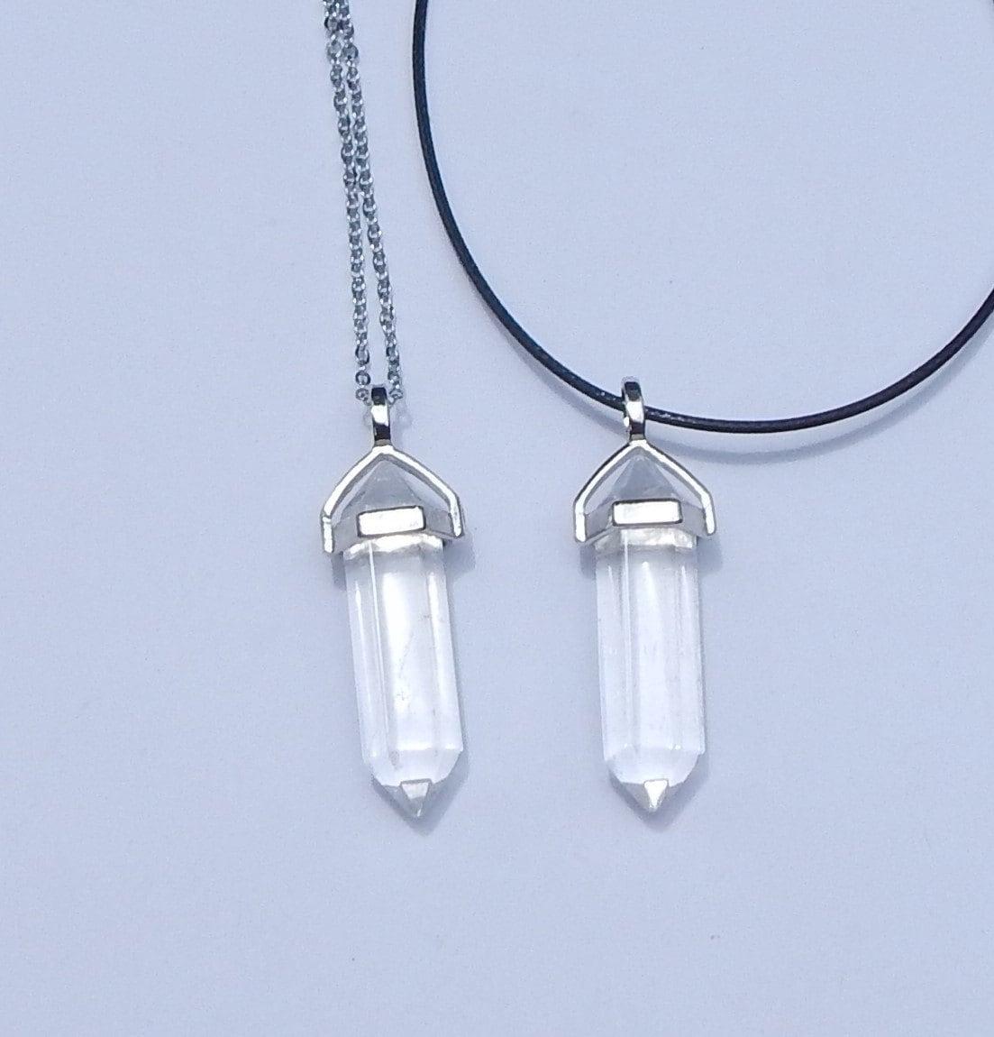quartz crystal point necklace quartz crystal necklace clear. Black Bedroom Furniture Sets. Home Design Ideas