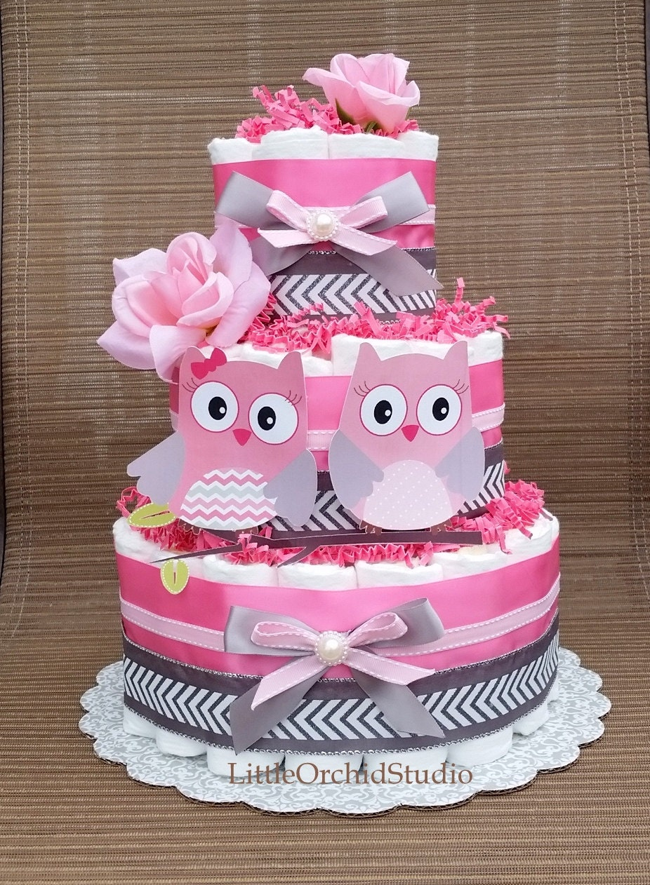 Pink Owl Diaper Cake Twin Baby Girls Its A By