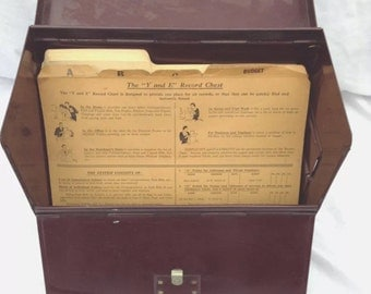 Vintage File Cabinet, 1933 Y And E Record Keeping Box With Original A Z  Manilla Files