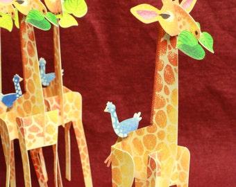 Friendly Giraffe, 3D Paper Animal Greeting Card/Sculpture,