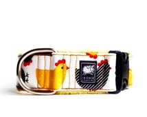 Hot Yellow White and Black Chicken Laminted Waterproof Active Adjustable Extra Soft Dog Collar
