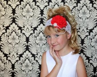 Red Flower Headband, Flower Girl Headband, Red Bridal Headband, White Lace Headband, Red White Headband, Wedding Headband, Red White Wedding