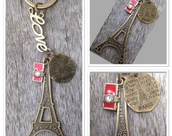 Vintage Style Antique Alloy Metal Bronze Eiffel Tower French Paris Keyring Keychain... 12cm In Length