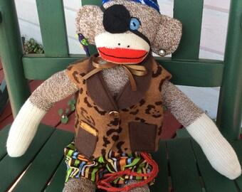 Sock Monkey Pirate, Sock Monkey, Handmade Toys, Sock Monkey Doll, Sock Monkey Gifts