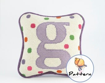 Personalized needlepoint mini pillow digital pattern, do-it-yourself needlepoint pattern, newborn baby shower present, needlepoint nursery