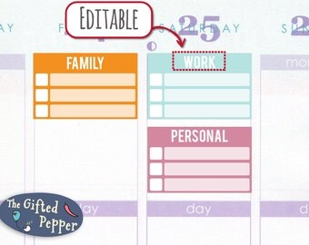 Half-box Checklist, EC 2016 colors, 12 month bundle [Printable and Editable], For Erin Condren planner. Stickers, customizable and editable