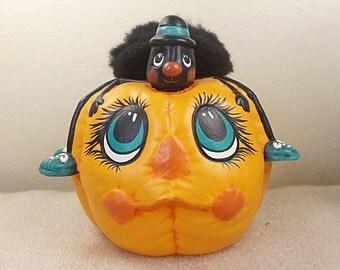 Ceramic Pumpkin, Spider On Pumpkin, Jack O Lantern, Black Spider, Pumpkin, Halloween Decor, Halloween Ceramics, Hand Painted Ceramics