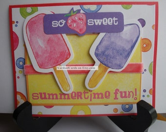 Thank You Card.  Glittered Designer Paper.  Popsicles and Strawberries.  So Sweet.  Felt Ribbon.  Texture and Dimension.  Summertime Fun.