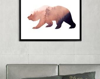 Wild Grizzly Bear Print, Woodlands Bear Print, Spirit Bear Print, Mountain Bear Print, Sun Bear Print, Sloth Bear Print, Andean Bear Print