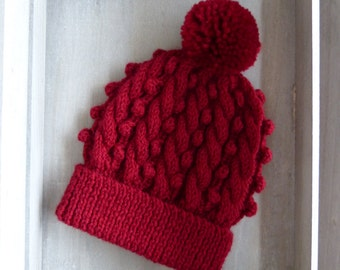 Cable & Bobble Knit Hat with Pom Pom in Red