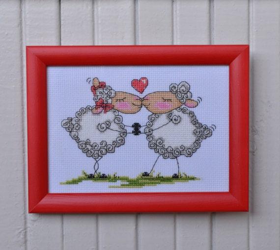 Wall Decor Cross Stitch : Sheep in love completed cross stitch wall decor