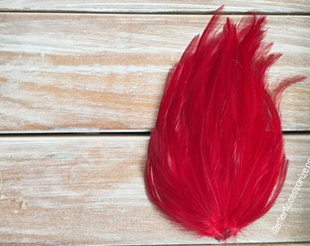 feather pad, feather pads, feather, feathers, red feather pad, hair accessories, supplies, hackle feather pads