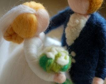 Bride and groom fairy tale, wool, Waldorf inspired