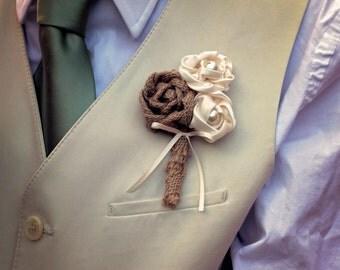 Set of 5 Burlap Boutonniere | Wedding Boutonniere Set | Burlap Wedding Boutonniere | Rustic Wedding Boutonniere Set | Country Wedding Set