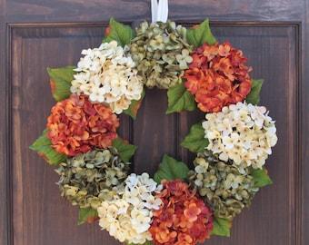Fall Hydrangea Wreath, Front Door Wreath, Fall Wreath, Summer Hydrangea Wreath, Summer Wreath, Fall Front Door Wreath, Autumn Wreath