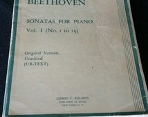 "Ludwig Van Beethoven - Antique Sheet Music (248 Pages) Sonatas For Piano Vol.1"" Original Ver / Unedited, Editorial Notes by Carl Krebs."