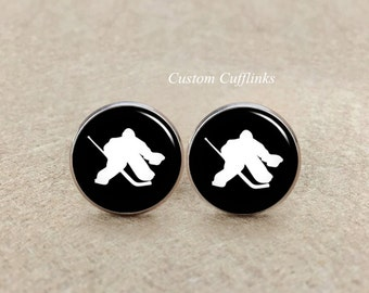 Ice Hockey Cufflinks, Hockey Fans Father, Hockey League,Groomsmen Group Cufflinks, Mens Sports Cufflinks, Canadian Hockey Cufflink for Men