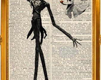 Jack Skellington and zero, a nightmare before Christmas art print on upcycled vintage dictionary page 8x10