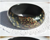 Wooden Bracelet OOAK with hand painted HandPaint Jewelry Gift idea for her Boho Bracelet Black bracelet with golden flakes Statement Jewelry