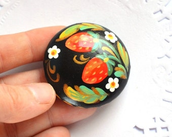 Hand painted Brooch strawberry Jewelry flower pin red berries colorful brooch woodland eco friendly Gift Ideas inspired|by|nature red green