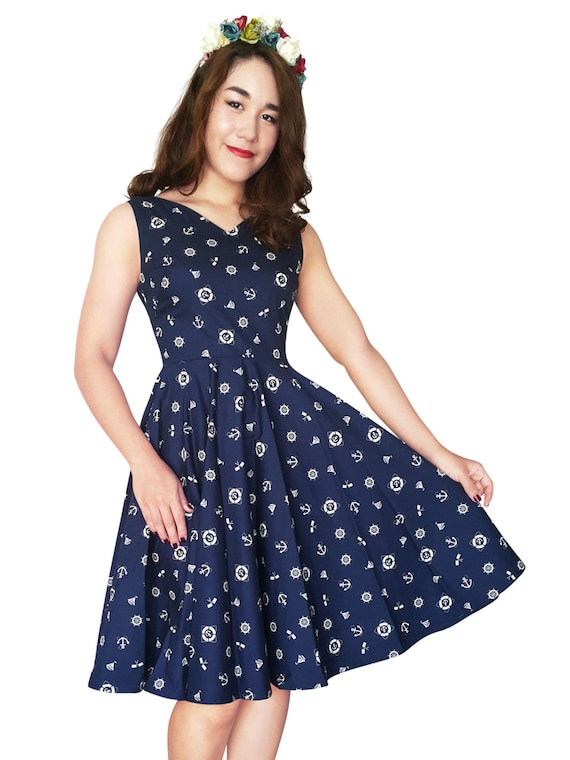 Nautical Dress Sailor Dress Pin Up Dress V neck Plus Size