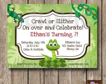 Reptile Snake Invite - Personalized Reptile Birthday Invite - Print at Home