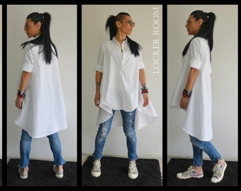 Maxi white top / Loose shirt / Extravagant Asymmetric shirt / Oversize white top / Maxi shirt/Oversize Spring top