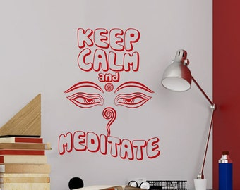 Quote 'Keep Calm and Meditate' 3rd Eye Psychedelic 60's-70's Style Vinyl Graphic Sticker Decal ~ Item 0345