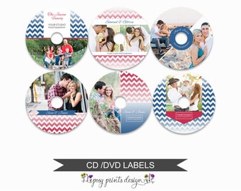 DVD CD Labels - Set of 6 - Template for Photographers - Digital Photoshop Template - Chevrons