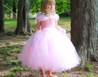 Pink Princess Tutu Dress.  Birthday Princess Tutu Dress.  Pink Flower Girl Dress. Toddler/Girl Princess Tutu Dress.
