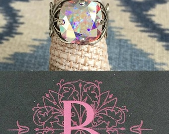 Bella B Crystal AB Swarovski Crystal & Silver adjustable ring