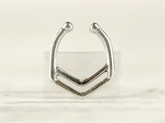 Fake Nose Ring Fake Septum Ring Body Jewelry Sterling Silver