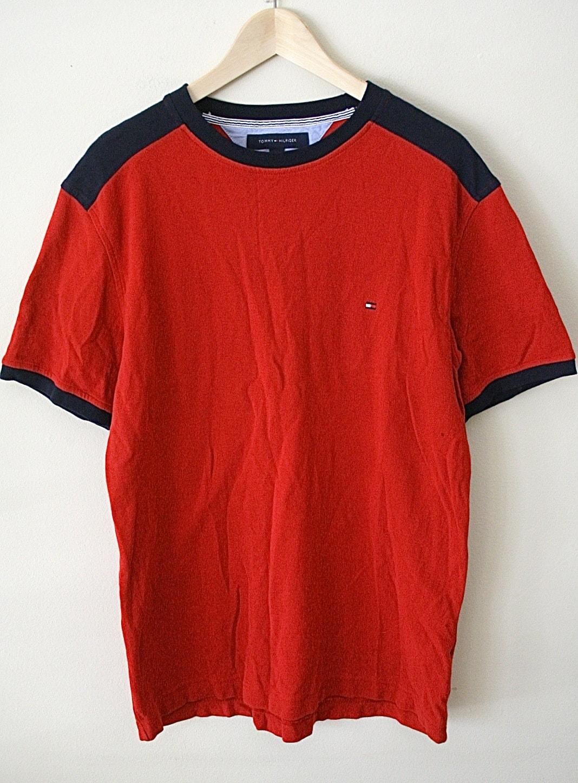 90s tommy hilfiger shirt short sleeve red by downhousevintage. Black Bedroom Furniture Sets. Home Design Ideas