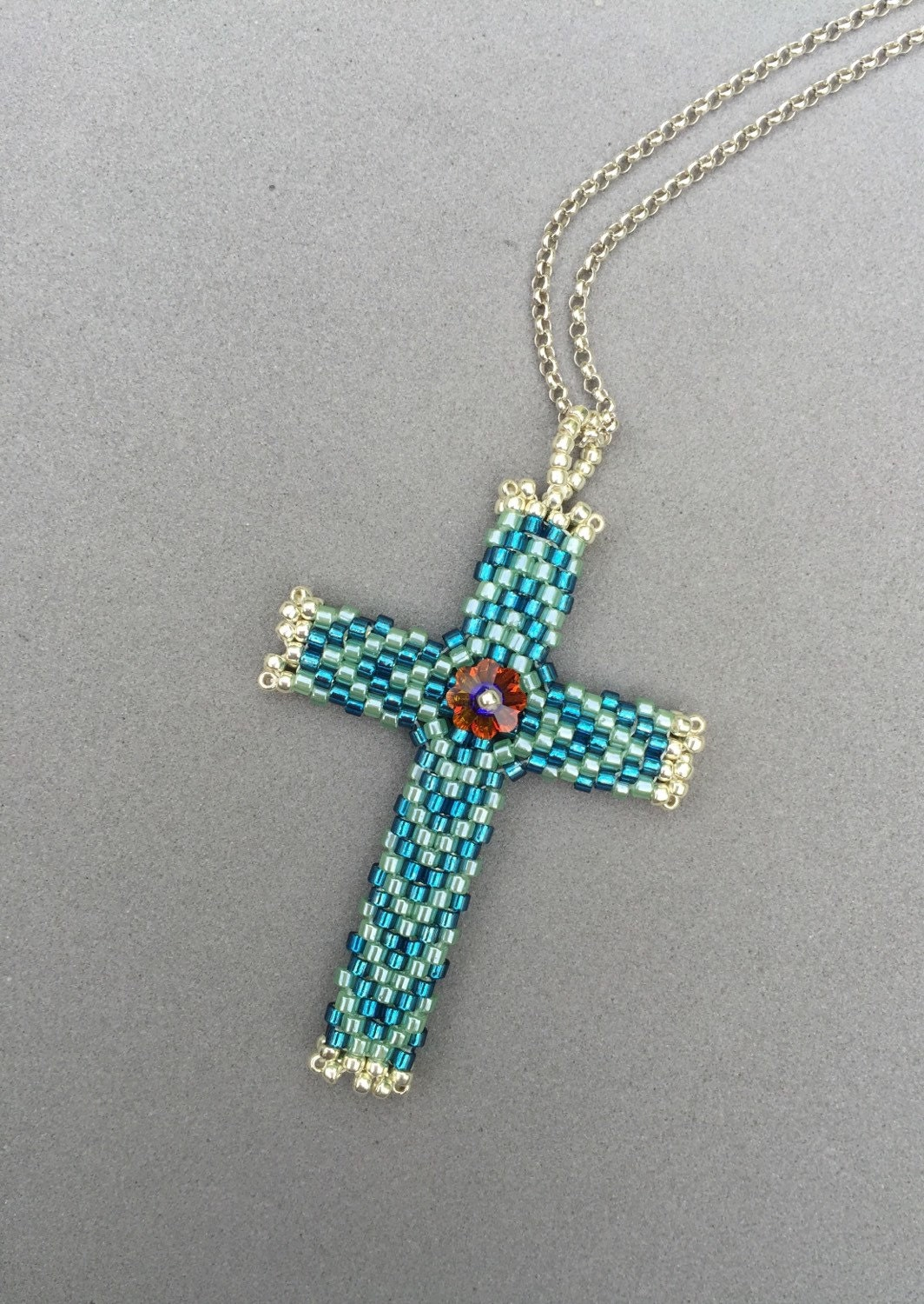 Peyote Stitched Glass Seed Bead Cross Pendant