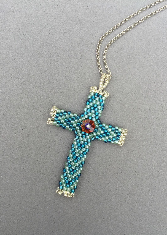 peyote stitched glass seed bead cross pendant