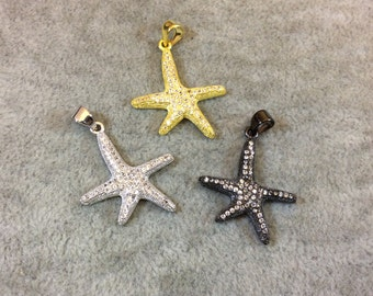 Starfish Shaped Cubic Zirconia Inlaid Pendants - Measuring 22mm x 24mm  - Available in Three Finishes (Silver, Gold, Gunmetal)