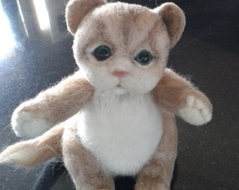 Needle Felted Animal Cat Felted Animal Cat Kitten gift idea Hand made OOAK ready to ship