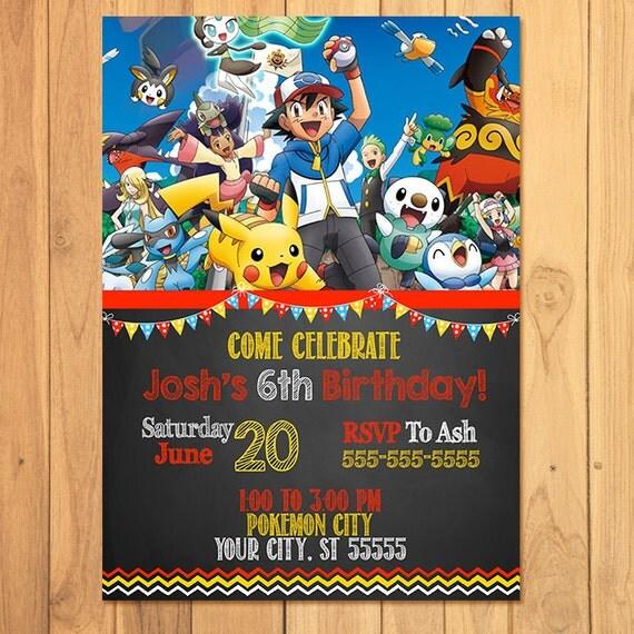 Pokemon Invitation Chalkboard * Pokemon Birthday * Pokemon Printables * Pikachu Invite * Pokemon Party Favors