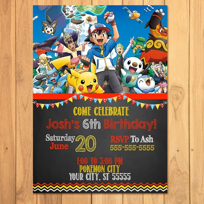 pokemon invitation chalkboard pokemon birthday pokemon, Party invitations