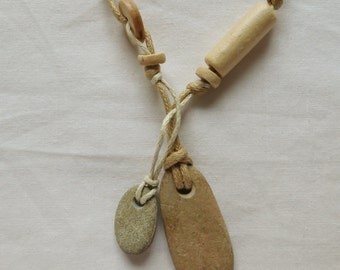 River pebble and wooden bead natural necklace