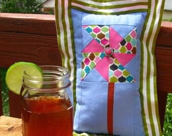 Pink, Blue & Green Pinwheel Pillow