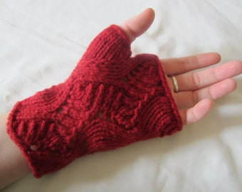 Red/Scarlet Waves Knit Fingerless Gloves - wave and step patterned fingerless gloves