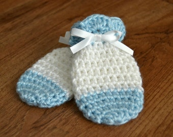 Blue Thumbless Baby Mittens (Fits Newborn to 12 Months)