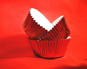50 Red Foil Standard Baking Cups