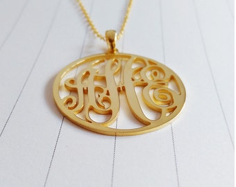 "Personalized Monogram Necklace,Gold Monogram Necklace,3 Initial Monogram Necklace,2"" inch Monogrammed Gifts,Custom Jewelry"