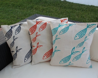 100% Recycled Pillow Cover 20 x 20 Fish Design