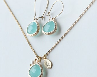 birthstone personalized leaf initial necklace earrings set, bridesmaid earrings minimalist jewelry,birthday Bridal Party mint green wedding
