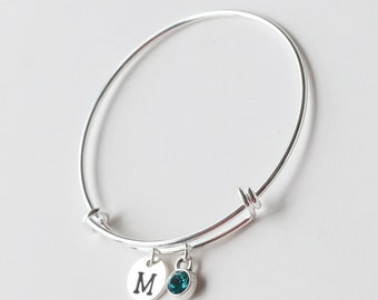 bridesmaid bracelet, silver Personalized initial bangle birthstone bangle bracelet, birthday gift, wedding jewelry bracelet bridesmaid gifts