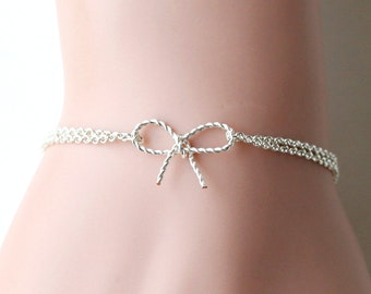 bridesmaid bracelet, silver wire wrapped twisted bow bracelet, wedding bracelet, bow jewelry bff bracelet, Bridal Party Gift bridal bracelet