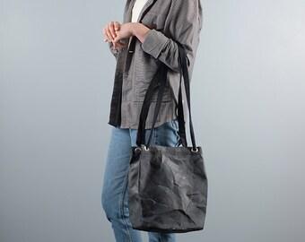 Waxed Canvas Bucket Bag in Black